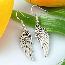 SILVER ANGEL WINGS/ROSE BUD DANGLE EARRINGS/STERLING SILVER HOOKS