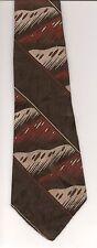 Tie, Hale Brothers Mens Shop Brocade Dark Brown Tan Red Desert Hills Rectangles