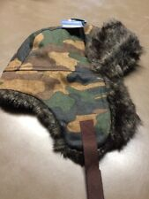Boys Size 8-16 Cherokee Camouflage Trapper Hat With Faux Fur New NOS