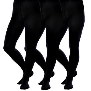 Girl's Black Back To School Opaque Tights 3 PACK 60 80 100 Den 9 - 16 Years