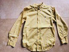 Boy's Ralph Lauren Long Sleeve Button Shirt Yellow Stripe Blue White Large 14 16