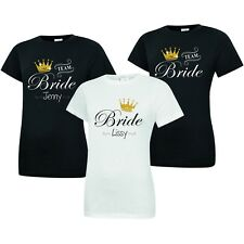PERSONALISED TEAM BRIDE T-SHIRT WITH GLITTER CROWN HEN DO PARTY TOP TEE WEDDING