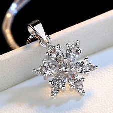 925 Silver Snowflake Pendant Fashion Jewelry Zircon Flower Necklace Women Gift