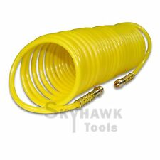 """25ft x 1/4"""" Recoil Air Hose Re Coil Spring Ends Pneumatic Compressor Tool 200psi"""