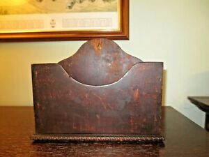 Vintage Wooden Letter Rack / Candle Box Wall Mounted Dark Wood Handmade