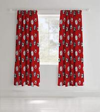 Catherine Lansfield Kids Football Pencil Pleat Curtains Red 66 X 72 Inch