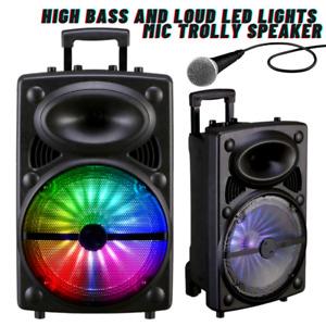 "Wireless Speaker Bluetooth Stereo Bass Trolley Speaker 12"" & Mic FM Radio Lights"