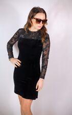 Stunning black velvet and lace vintage  dress UK 8