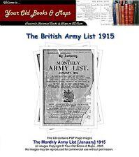 British Army List 1915 WW1 CDROM