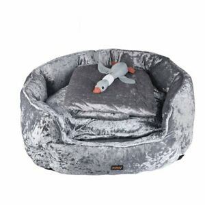 PaWz Pet Bed Set Dog Cat Quilted Blanket Squeaky Toy Calming Warm Soft Nest Grey