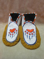 NATIVE AMERICAN FULL BEAD WHITE ORANGE BEAR CLAW MOCCASINS, 9&1/2 INCHES LONG