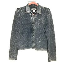 Blue Willi's Cropped Long Sleeve Denim Look Top Small Textured Snap Button Blue