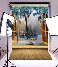 Christmas Theme Window Photography Backgrounds 5x7ft Vinyl Photo Backdrops