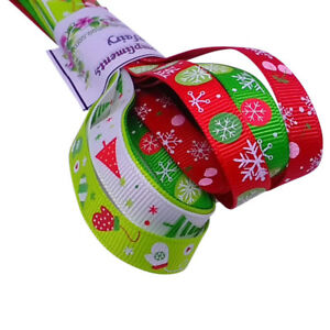 Bundle of 5 x 1 Metre Christmas Ribbon Printed Gift Wrapping  Decorations Craft