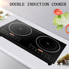 Electric Dual Induction Cooker Stove 1200W*2 Hot Plate 2 Burner Cooktop W/ Timer