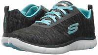 Skechers Womens Flex Appeal 2.0 Low Top Lace Up Running Sneaker, Grey, Size 8.0