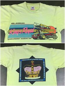 Vintage Mens M 1989 80s Sprint Car Racing Steve Kinser Kings Royal Crown T-Shirt
