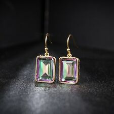 Sevil 18K Yellow Gold Plated Emerald-Cut Created Mystic Topaz Drop Earrings