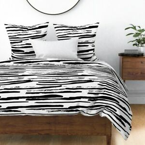Black Rough Stripe Watercolor Brush Smear Sateen Duvet Cover by Roostery