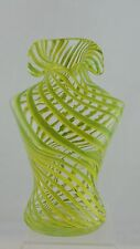 ART GLASS VASE NEON GREEN & CLEAR SWIRL SHIRT/BUST SHAPE FUN GIFT GLASSWARE