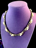 CROWN TRIFARI GOLD-TONE FAUX PEARL CRYSTAL RHINESTONE FLORAL COLLAR NECKLACE