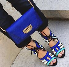 NWT ZARA BLACK BLUE GREEN COMBINATION STRAPPY HIGH HEELS LACE UP SANDALS 6 US