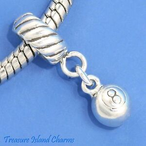 Pool Ball 8 Eight 925 Solid Sterling Silver European Dangle Bead Charm Euro