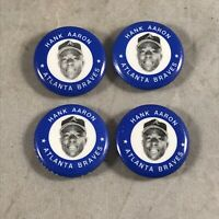 LOT of 4 VINTAGE 1983 / 1969 MLBPA PINS HANK AARON HOF