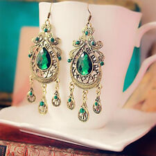 Retro Style Palace Green Water Drop Earring Exaggerated Long Earrings for Women