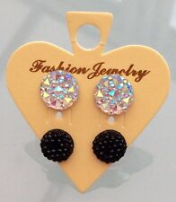 Round Sparkly Clear Ab  & Black Crystal Diamante Rhinestone Stud Earrings