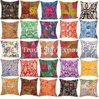 2 Pcs Indian Kantha Cushion Cover 16x16 Boho Cotton Decorative Throw Pillow Case