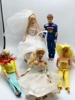 Lot of 5 Vintage Mattel Barbie Dolls Gently Used Condition 1970-1990