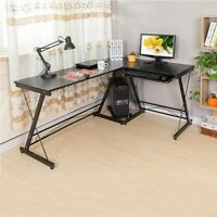 L-Shaped Desk Corner Computer Gaming PC Table Laptop W/ Keyboard Tray CPU Stand