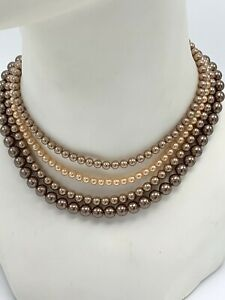 Vintage Champagne Pink Faux Pearl Satin Beads Multi Strand Choker Necklace Japan