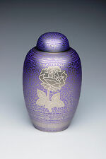 Purple Rose Adult Funeral Cremation Urn, 210 Cubic Inches