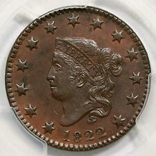 1822 N-5 PCGS AU 55 Matron or Coronet Head Large Cent Coin 1c