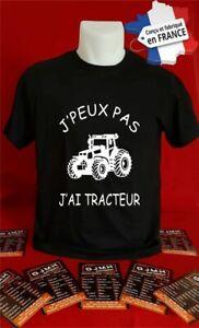 t-shirt personnalisé J'PEUX PAS J'AI TRACTEUR cadeau maillot tee shirt K039