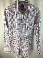 English Laundry Pink Blue White Check Shirt 15.5 32/33 Long Sleeve Mint