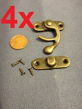 4 sets - latch hook Hinge small mini  Antique wood box Catch Decorative b14