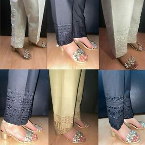 Ladies Trousers Pakistani Indian XS to 7XL Capri Pencil Pants Embroidery Shalwar