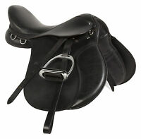 USED 15 16 17 18 BLACK LEATHER ALL PURPOSE ENGLISH RIDING HORSE SADDLE TACK SET