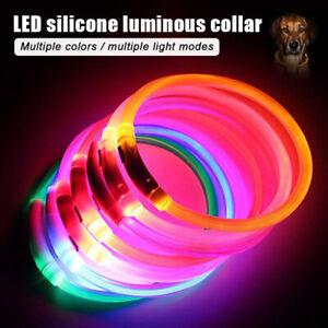 USB Rechargeable Flashing Night Dog Collars Luminous Pet Dog Collar LED Light