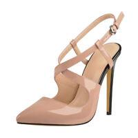 Onlymaker Women's Patent Pumps High Heel Criss Cross Strap Pointed Toe Stilettos