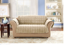 Sure Fit Deluxe Loveseat Furniture Cover Pet Cover Cream Large Square Pattern