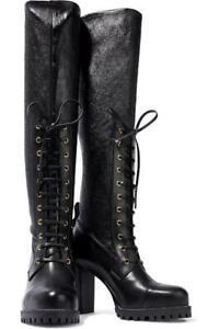 $998 - STUART WEITZMAN Pippa Black Lace-Up Stretch Leather Boots Size 5
