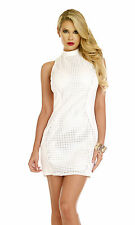 SEXY WHITE MINI DRESS PUNCHED CUT.OUT FAUX LEATHER STRETCHY JERSEY BODY CON 10