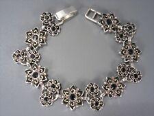 8 Inch Long Brighton Black Flower Bracelet
