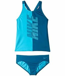 $185 Nike Swimwear Girls Blue Crossback Two-Piece Sporty Tankini Swim Set Size M