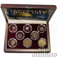 JERUSALEM - The Holy City - Collection of 8 Coins in Wood Box - Israel Palestine