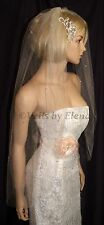 "Wedding Veil Bridal Veil Fingertip Crystals Sheer Width 40"" Length Made in USA"